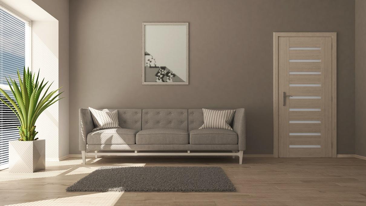 Kolory ścian - delikatny brąz w salonie