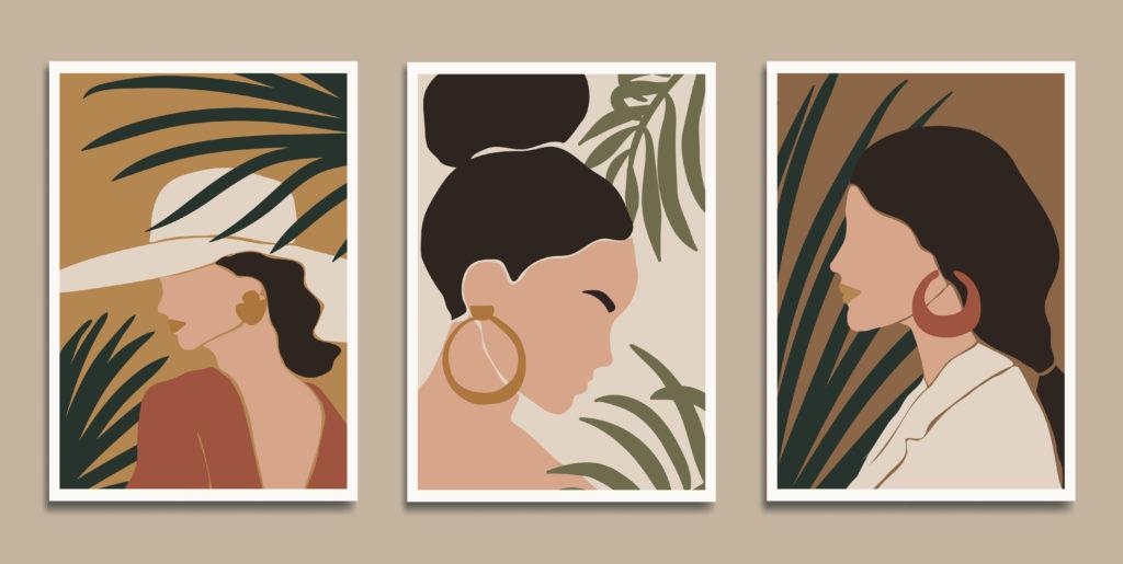 Trzy grafiki wstyku boho przedstawiające kobietę